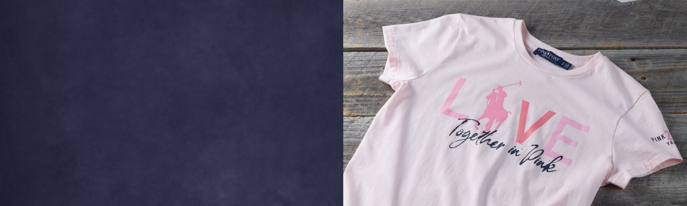 """Woman in light pink """"Live Love"""" Pink Pony graphic tee"""